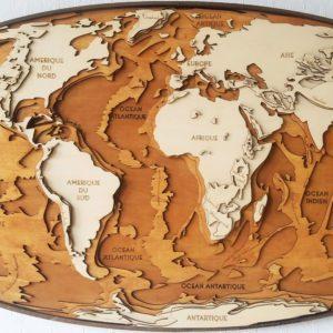 carte du relief en bois