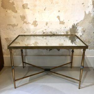 Table basse rectangulaire laiton et plateau miroir