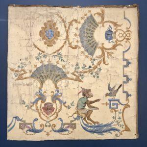 Toile peinte ancienne motif masques singe et oiseau