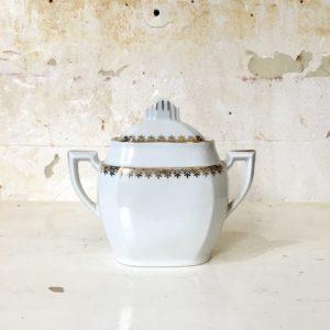 Sucrier en porcelaine blanche et dorée MS France