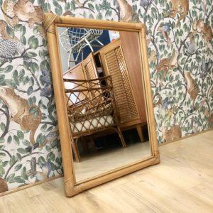 Miroir rectangulaire en rotin et bambou