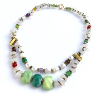 5872 Bijoux Collier Jade Laiteux Agate Perle Agate Herbe Atelier 114 Toulouse