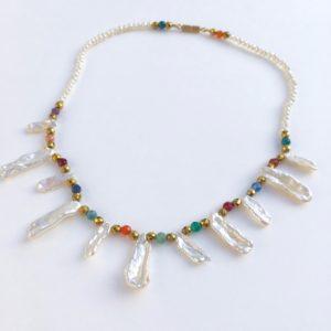 5874 Bijoux Collier Perle d'eau douce Keshis Agate Atelier 114 Toulouse