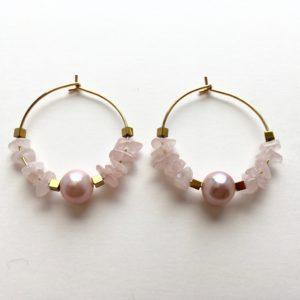 5916 Bijoux Boucle d'oreille Perle d'eau douce de culture Jade laiteux Atelier 114 Toulouse