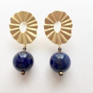 5917 Bijoux Boucle d'oreille Perle Lapis Lazuli Atelier 114 Toulouse
