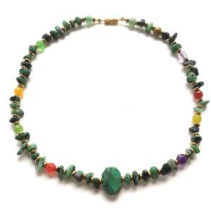 5912 Bijoux Collier Jaspe Africain Agate Herbe Atelier 114