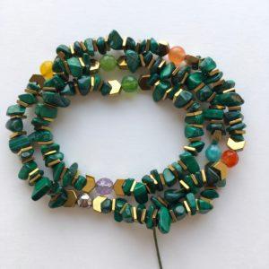 5932 Bijoux Bracelet triple fermoir aimant ou Collier Malachite Atelier 114 Toulouse