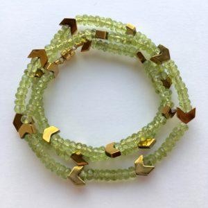 5933 Bijoux Bracelet triple fermoir aimant ou Collier Péridot Hématite Atelier 114 Toulouse