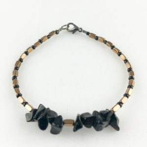 Onyx noir Hématite Perle Murano