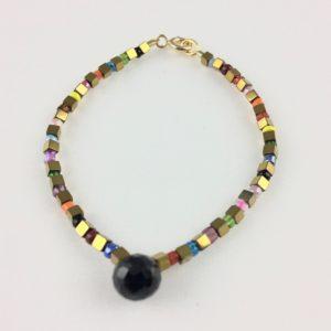Bracelet Goutte Spinelle Hématite Perle Murano