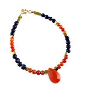 Bracelet Cornaline Agate Pierre de Sable Hématite