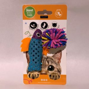 Jouet chat poisson tissu + balle Wouapy