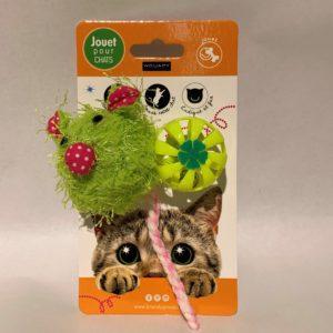 Jouet chat souris + balle plastique Wouapy
