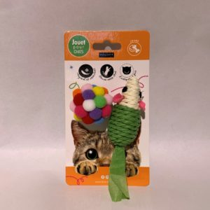 Jouet chat souris sisal + balle Wouapy